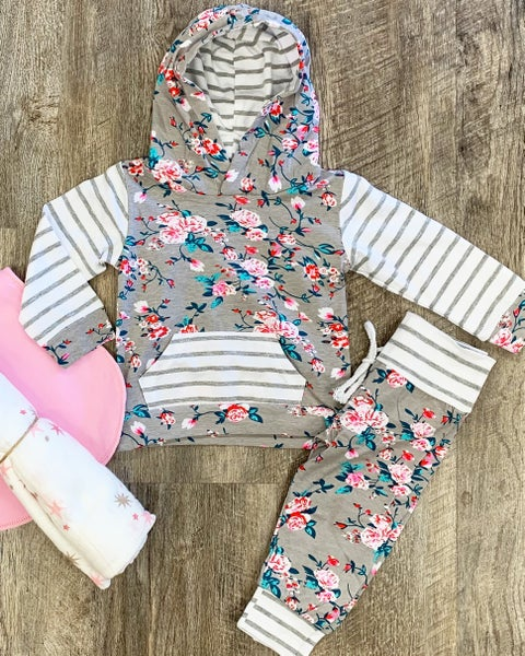 Gray Floral 2pc Set For Baby Girl