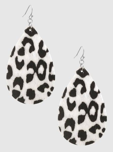 White Animal Print Teardrop Earrings *Final Sale*