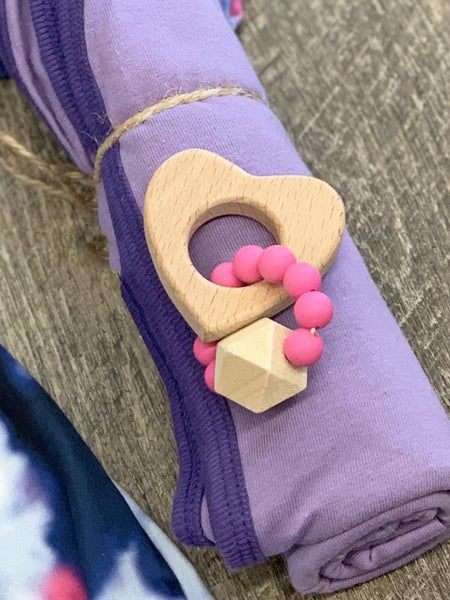 Pink Wooden Heart Organic Teething Toy For Baby *Final Sale*