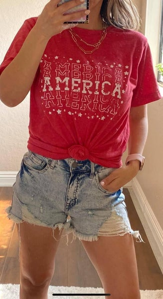 Red Distressed America Graphic Tee For Women