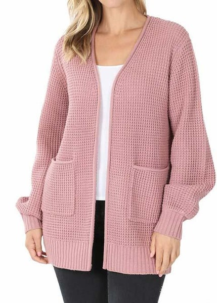 Rose Waffle Cardigan For Women