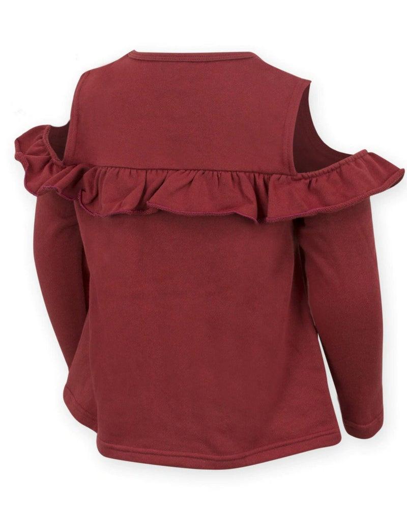 Iowa State Cold Shoulder Ruffle Top For Girls