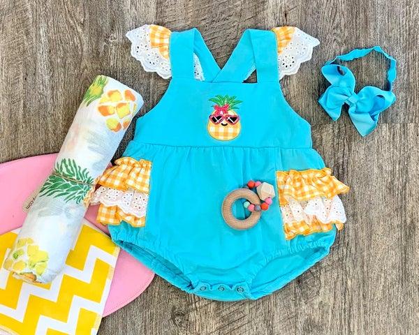 Summer Pineapple Romper Set For Baby Girl