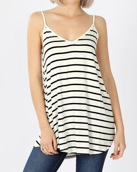 Reversible Ivory & Black Stripe Cami For Women *Final Sale*