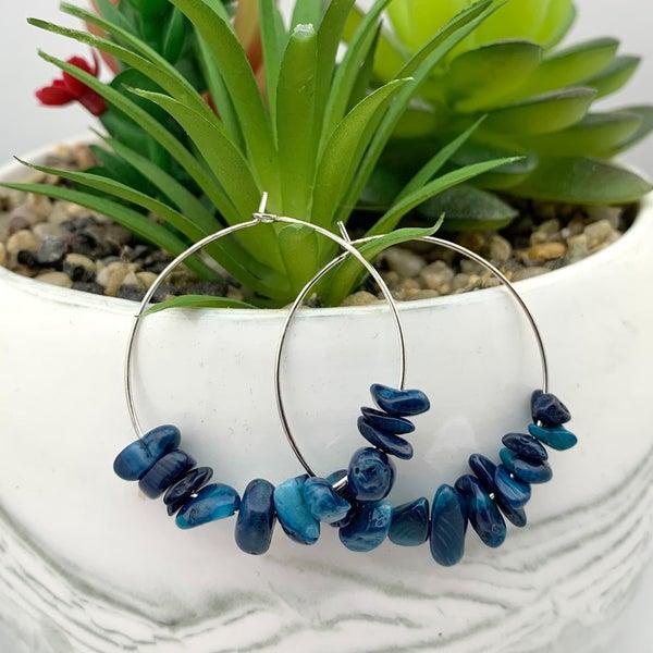 Ink Blue Natural Gem Stone Hoop Earrings *Final Sale*