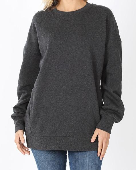 Cozy Everyday Charcoal Sweatshirt For Women