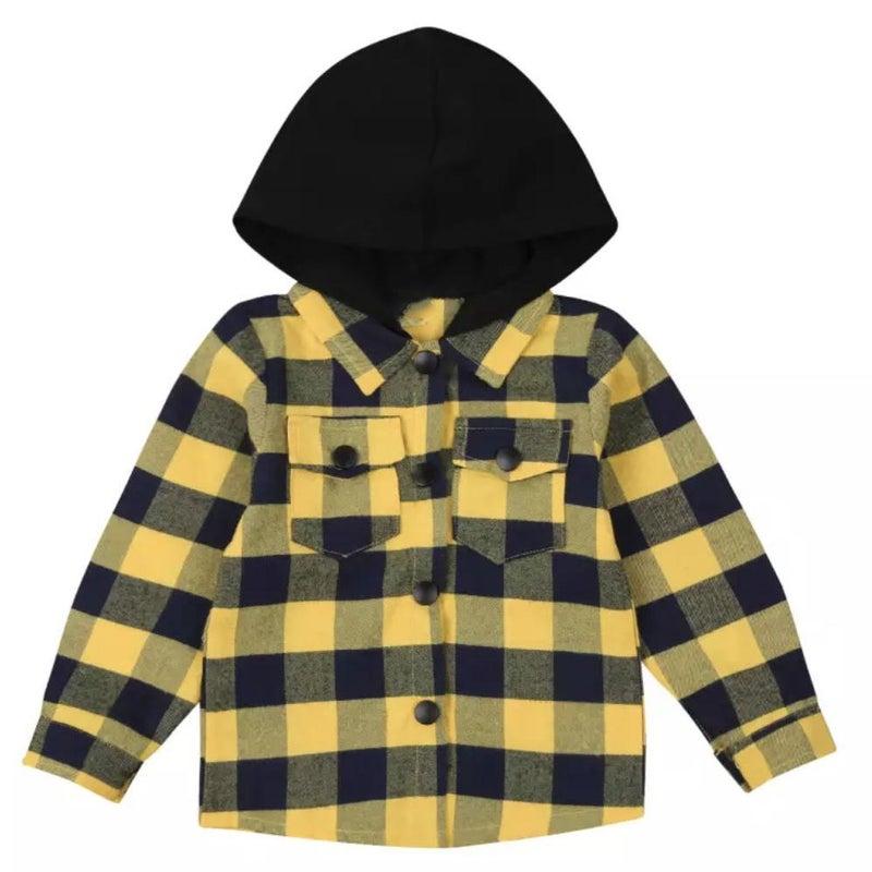 Hooded Yellow & Black Buffalo Plaid For Kids *Final Sale*