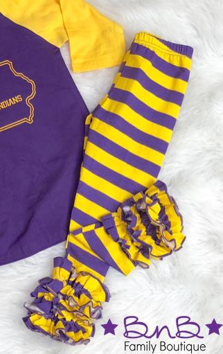 Purple / Gold Ruffle Legging For Girls *Final Sale*