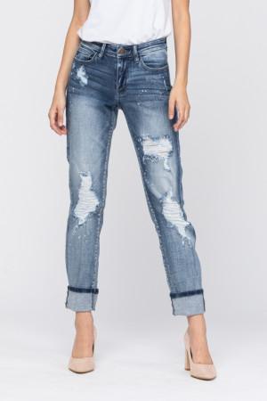 Judy Blue Boyfriend Bleach Splatter Jeans