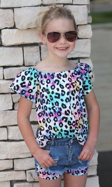 Tie Dye Animal Print Top For Girls *Final Sale*