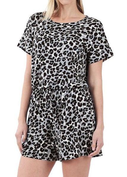 Gray Animal Print Shorts Romper For Women