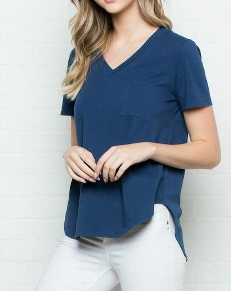 Navy Pocket Tee For Women *Final Sale*