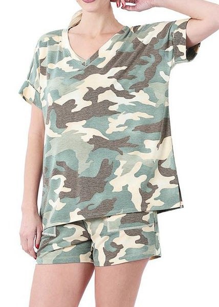 Distressed Camo Loungewear Set For Women