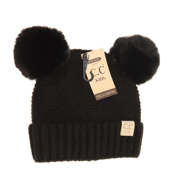 C.C. Black Double Pom Beanie For Kids