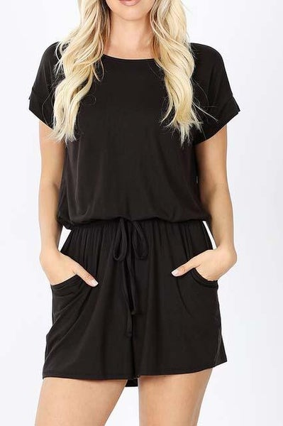 Black Shorts Romper For Women