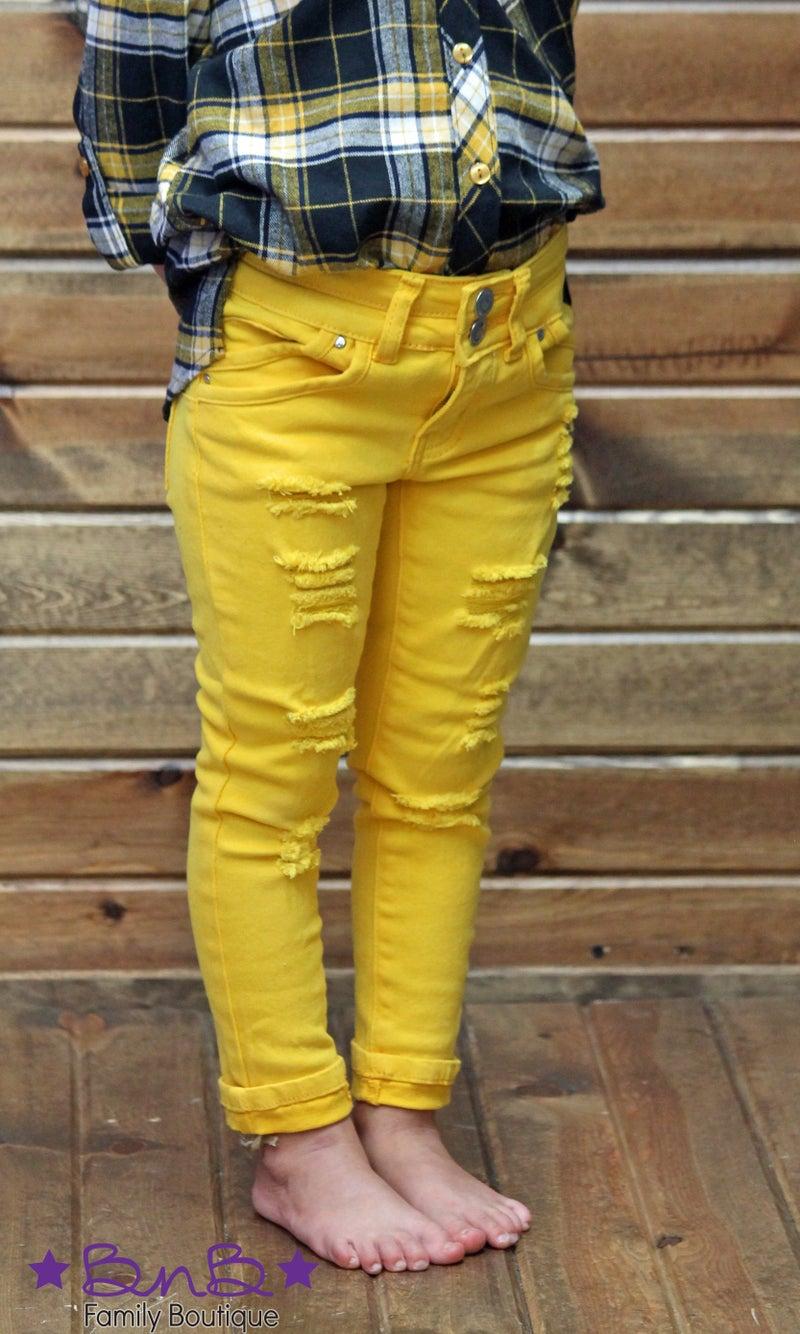 Yellow Distressed Denim Jegging - Girls *Final Sale*
