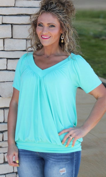 Crazy About Mint V-Neck Top For Women *Final Sale*