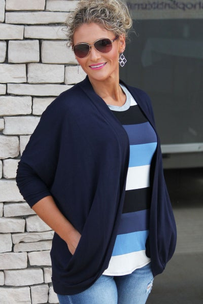 Navy Cocoon Wrap Cardigan For Women