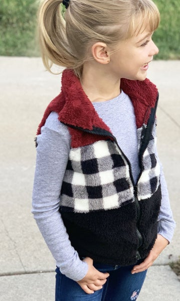 Red Buffalo Plaid Sherpa Vest For Girls *Final Sale*