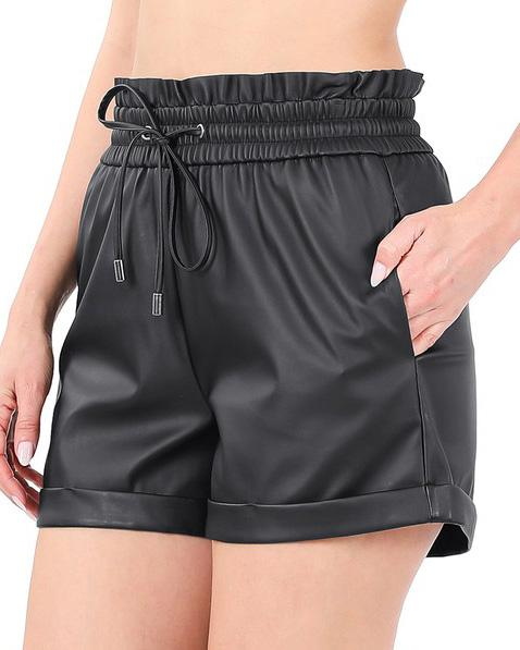 Black Vegan Leather Paperbag Shorts For Women