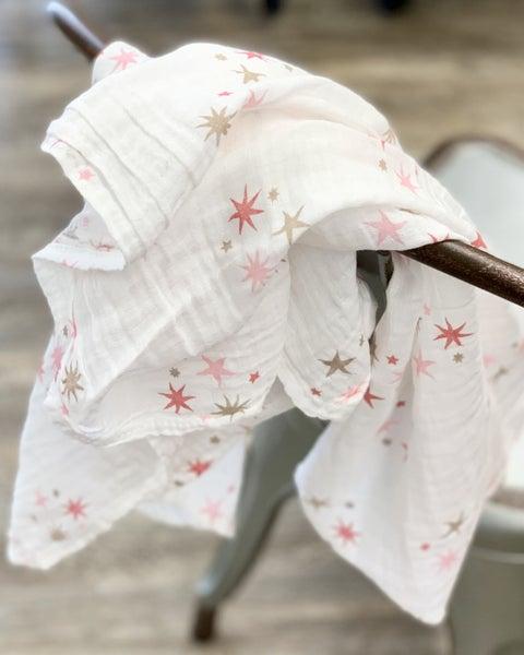 Pink Stars Muslin Baby Blanket *Final Sale*