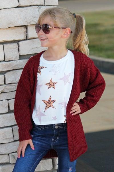 Burgundy Chunky Knit Cardigan For Girls *Final Sale*