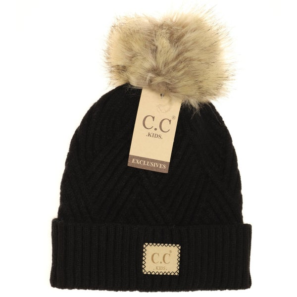 C.C. Heathered Black Fur Pom Beanie For Girls