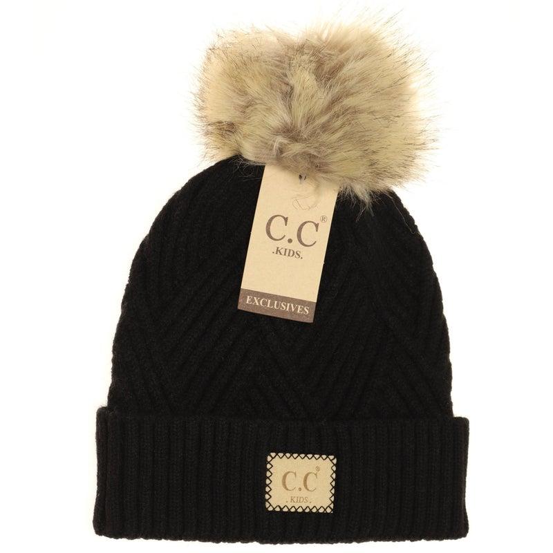 C.C. Heathered Black Fur Pom Beanie For Girls