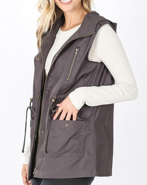 Gray Hooded Anorak Vest For Women *Final Sale*