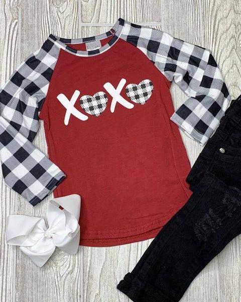 Girls XOXO Buffalo Plaid Raglan *Final Sale*