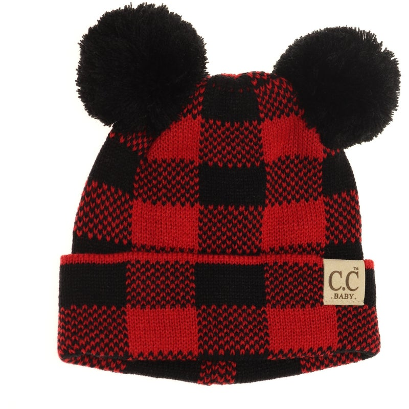 C.C. Red Buffalo Plaid Double Pom Beanie For Baby