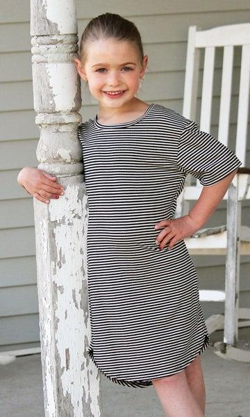 Black & White Stripe Dress For Girls