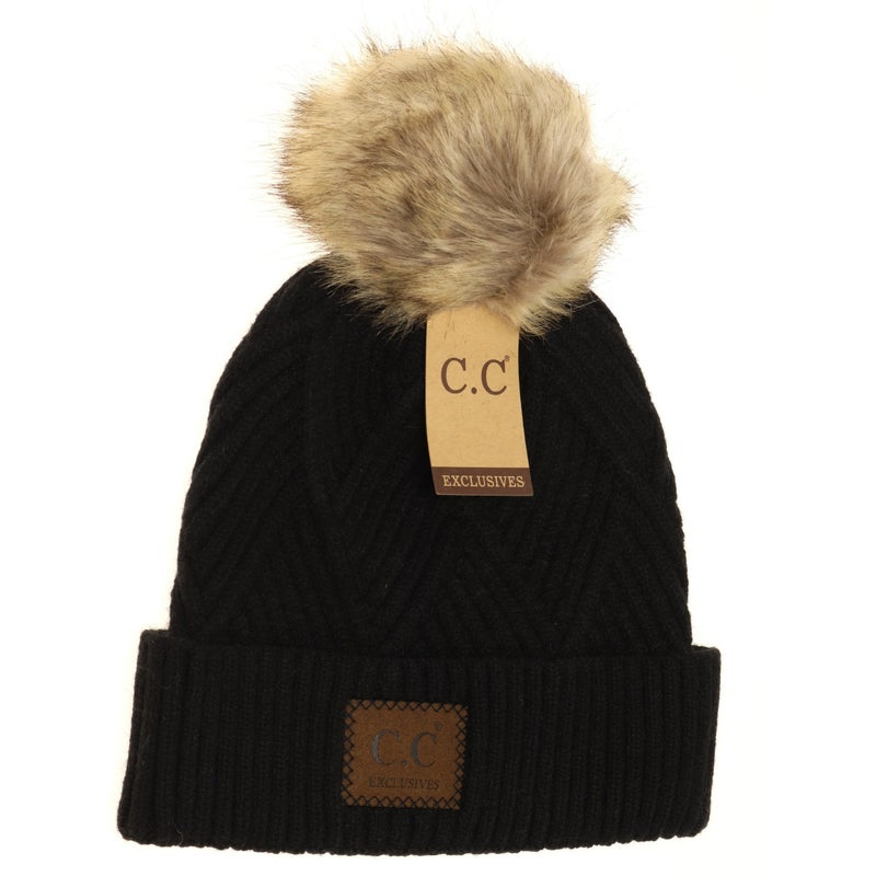 C.C. Heathered Black Fur Pom Beanie For Women
