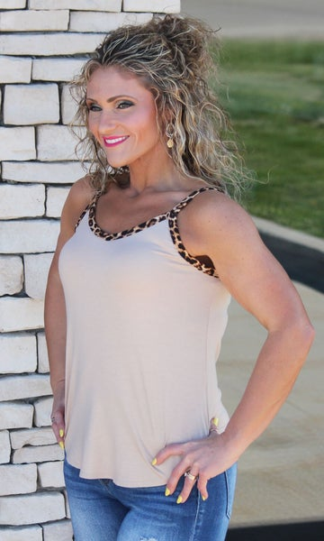 Taupe Leopard Spaghetti Strap Tank For Women *Final Sale*