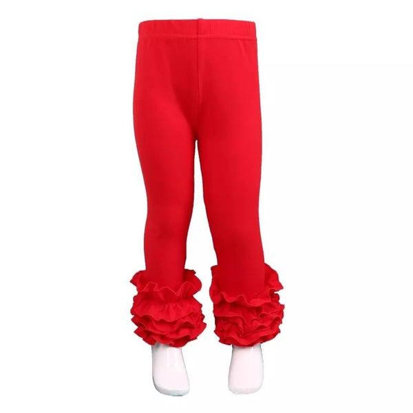 Red Ruffle Legging For Girls