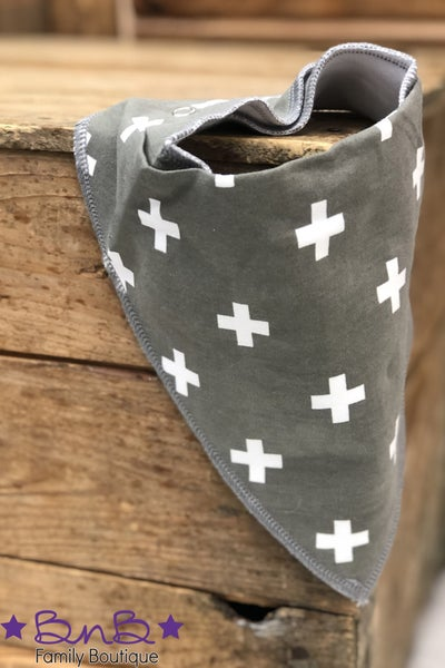 Gray & White Cross Bandana Bib