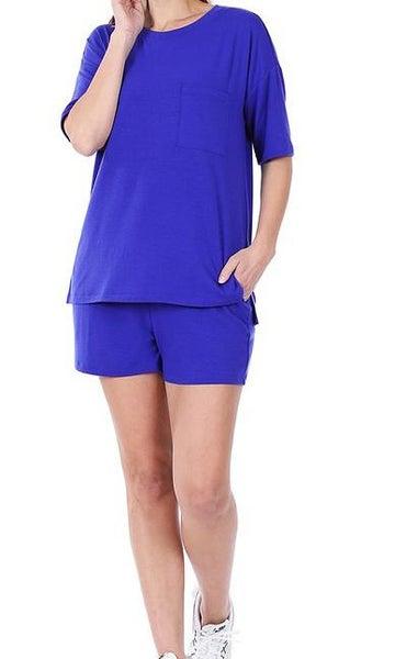 Bright Blue Loungewear Set For Women