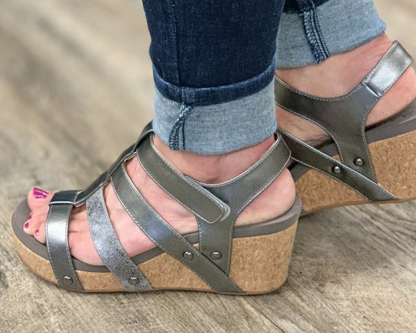 Corkys Pewter Lottie Da Wedge Sandal For Women