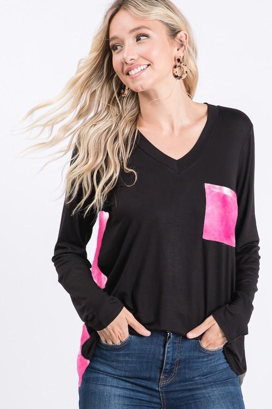 Fuchsia Tie Dye Pocket Top For Women