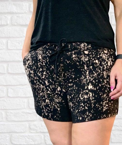 Black Bleach Splatter Shorts For Women