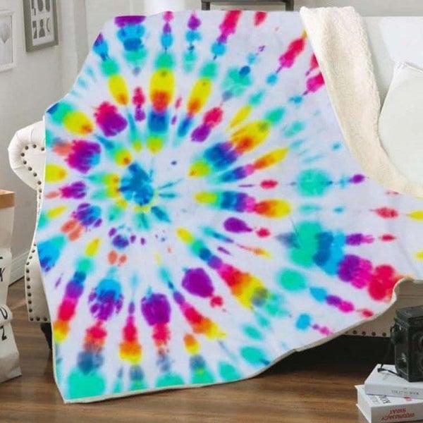 Bright Tie Dye Deluxe Plush Blanket