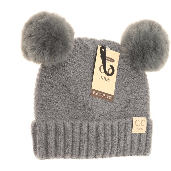 C.C. Gray Double Pom Beanie For Kids