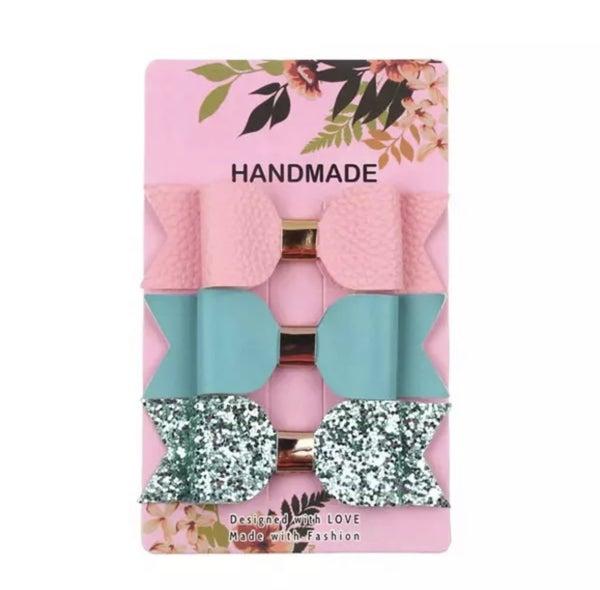 Pink / Aqua / Aqua Glitter Leather Bow Clips 3pk