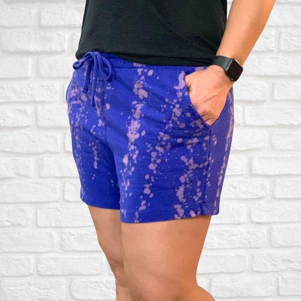 Blue Bleach Splatter Shorts For Women