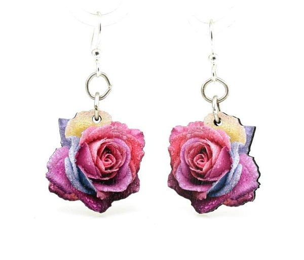 Multi-Color Rose Wood Earrings *Final Sale*