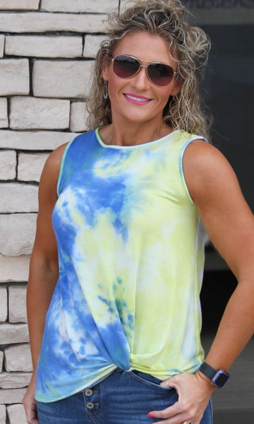 Blue Twist Tie Dye Tank Top For Women *Final Sale*
