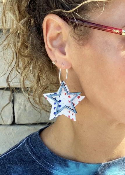 Glitter Star Hoop Earrings *Final Sale*
