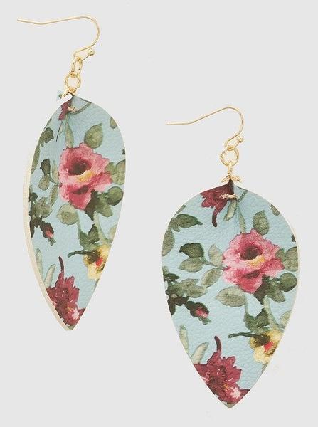 Aqua Floral Teardrop Leatherette Earrings *Final Sale*