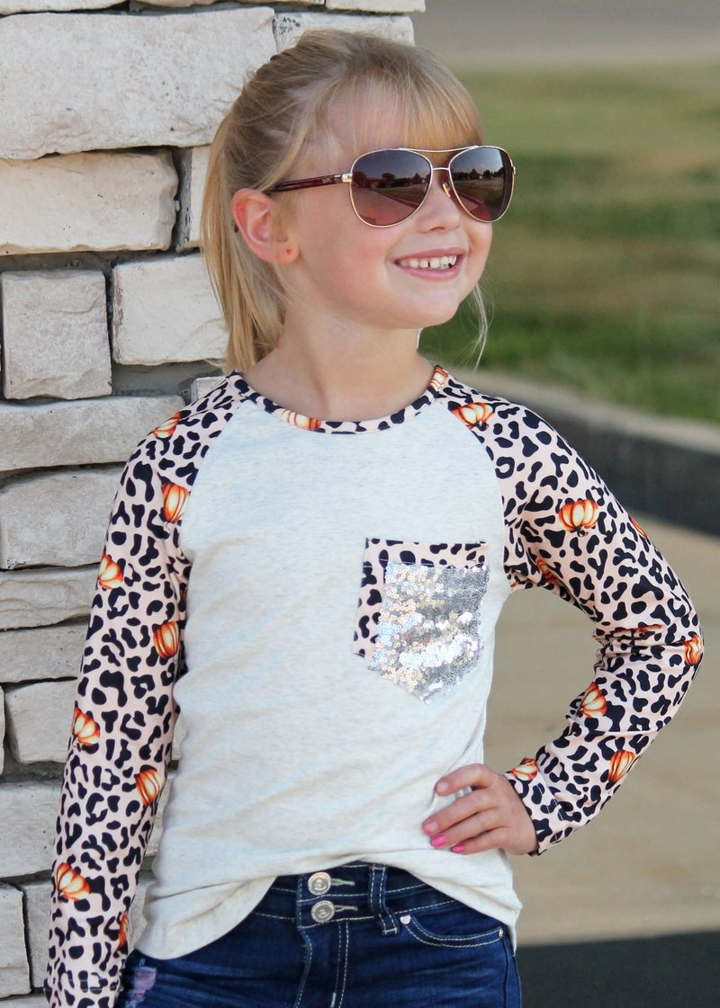 Pumpkin Animal Print Top For Girls *Final Sale*