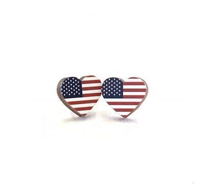 Flag Heart Stud Earrings *Final Sale*